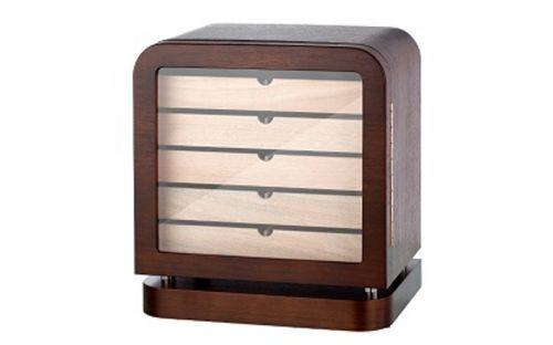 Humidor szekrény 80 szivar részére, szögletes szivartartó szekrény, üveg ajtóval - barna