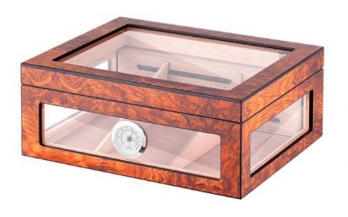 Gasztrohumidor 80 szál szivar részére, cédrusfa szivar doboz, üveges, hygrométerrel és párásítóval - világosbarna, Angelo