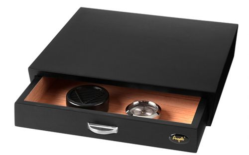 Humidor 30 szál szivar részére, fekete cédrusfa szivar doboz, párásítóval, hygrométerrel - fiókos