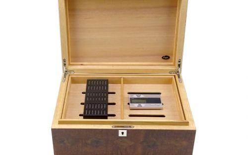 Humidor 80 szivar részére, spanyol cédrusfa, intarziás szivar doboz, párásítóval, digitális higrometerrel - intarziás