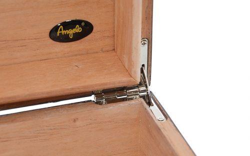 Humidor 15 szál szivar részére, lakkfekete cédrusfa szivar tároló doboz, párásítóval, hygrométerrel