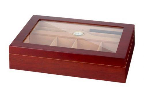 Gasztro humidor 80 szál szivarnak, spanyol cédrusfa, üvegtető, párásító és hygrométer - matt cseresznye szivartartó doboz