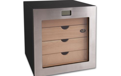 Humidor szekrény 80 szivar részére, négyszögletes szivar tároló szekrény, fém keretes üveg ajtóval, külső hygrometerrel - Angelo