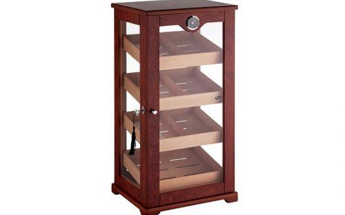 Humidorszekrény - szivar tároló,150 szál szivarnak, cédrusfa belső, körbe üveges, hygrométer - barna, Angelo