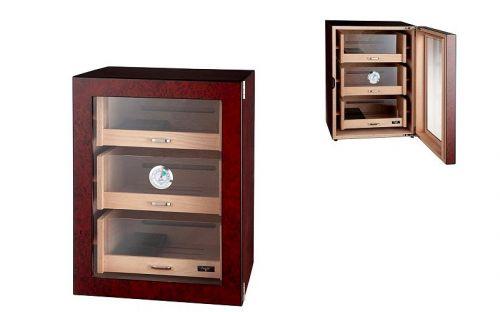 Humidorszekrény - szivar tároló szekrény 80-100 szál szivarnak, spanyol cédrusfa, digitális hygrométer - üvegajtóval, barna Angelo