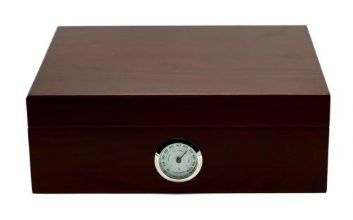 Humidor 30 szivar részére, bordó cédrusfa szivartartó doboz, párásítóva és külső hygrometerrel