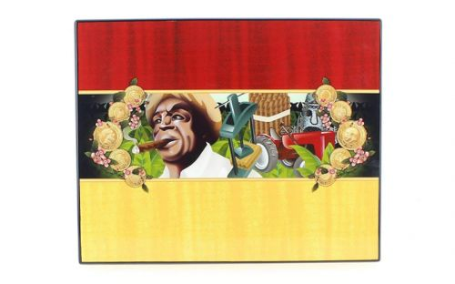 Humidor 50 szál szivar részére, lakkozott szivartartó doboz, kulccsal zárható, párásító és belső hygrometer - Cigarman