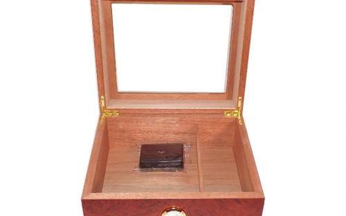 Humidor 50 szál szivar részére, üvegtetős spanyol cédrusfa szivar doboz, párásítóval, hygrométerrel - Bruyere