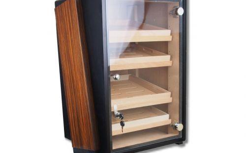Humidorszekrény - szivar tároló szekrény, 250 szál szivarnak, 4 fiókos, üveg ajtós, higrométerrel és párásítóval