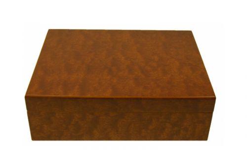 Humidor 30 szál szivar részére, cédrusfa szivar tároló doboz, párásítóval, hygrométerrel - barna + AJÁNDÉK szett!