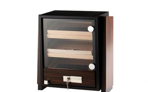 Humidor szekrény 80 szivar részére, négyszögletes szivar tároló szekrény, üveg ajtóval - barna, Angelo