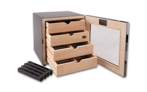 Szivarszekrény - szivar tároló, 80 szál szivarnak, 4 fókkal, digitális hygrométerrel - fém borítású