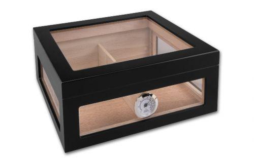Gasztrohumidor 80 szál szivar részére, cédrusfa szivar doboz, üveges, hygrométerrel és párásítóval - fekete