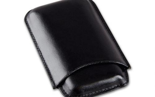 Szivartok fekete bőrből - 3 szivar részére (15x8cm)