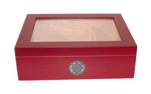 Medici Humidor 40 szál szivar részére, cédrusfa szivardoboz üvegtetővel, párásítóval - cherry
