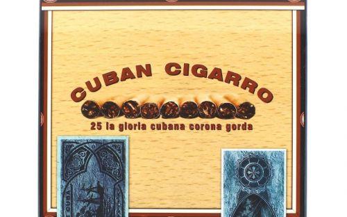 Humidor 50 szál szivar részére, lakkozott szivartartó doboz, kulccsal zárható, párásító és belső hygrometer - CigarmanCuban Cigarro