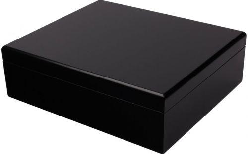 Humidor 30 szál szivar részére, cédrusfa szivar tároló doboz, párásítóval, hygrométerrel - fekete + AJÁNDÉK szett!