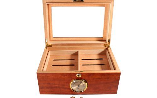 Gasztrohumidor 80 szál szivar részére, barna, cédrusfa szivar doboz, üveges, hygrométerrel és párásítóval - Achenty!