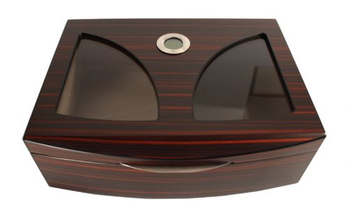 Matt sötétbarna szivar tartó cédrusfa doboz, üvegtetővel, párásítóval, külső hygrométerrel
