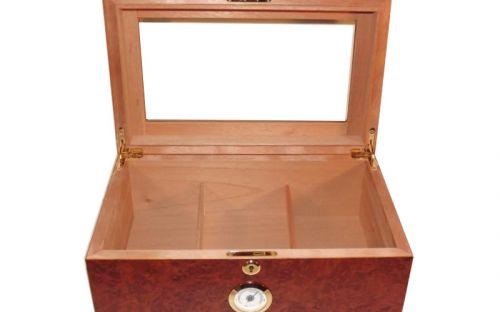 Gasztrohumidor 80 szál szivar részére, cédrusfa szivar doboz, üveges, hygrométerrel és párásítóval - barna, Angelo