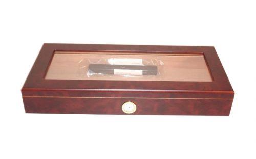Humidor 30 szál szivar részére, barna cédrusfa szivar doboz, üvegtetővel, párásítóval, hygrométerrel - hosszú, Angelo