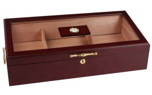 Gasztrohumidor - nagyméretű szivar tartó doboz, üvegtetővel, hygrométerrel és párásítóval - bordó