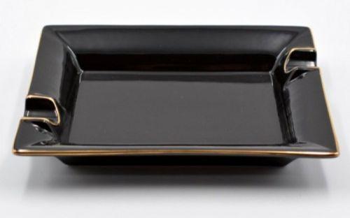 Szivar hamutartó - fekete porcelán