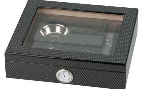 Humidor 20 szál szivar részére, cédrusfa szivar doboz, üvegtető, párásítóval, hygrométerrel - carbon