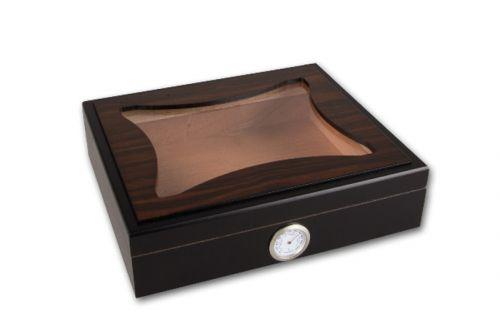Humidor 30 szál szivar részére, cédrusfa szivar doboz, üvegtetős, hygrométerrel - ébenfa