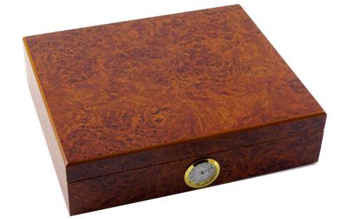 Humidor 30 szál szivarnak, cédrusfa szivar tároló doboz, külső hygrométerrel - gyökérmintás, barna színű, Angelo