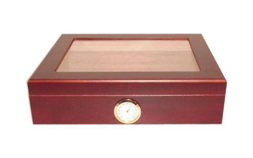 Humidor 30 szál szivar részére, cédrusfa szivar doboz, üvegtető, párásítóval, hygrométerrel - bordó, Angelo