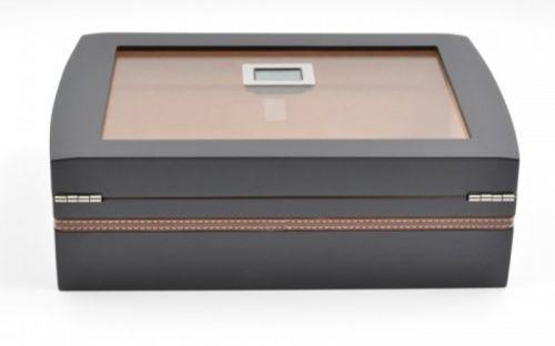 Humidor 40 szál szivarnak, cédrusfa szivar doboz, üvegtető, párásítóval, digitális higrométerrel - fekete