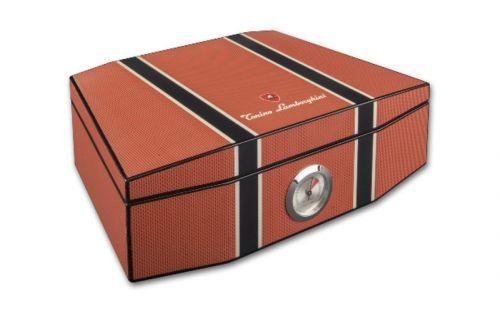 Humidor 50 szivar részére, cédrusfa szivar doboz, párásítóval, külső hygrométerrel - Lamborghini Carbon-orange