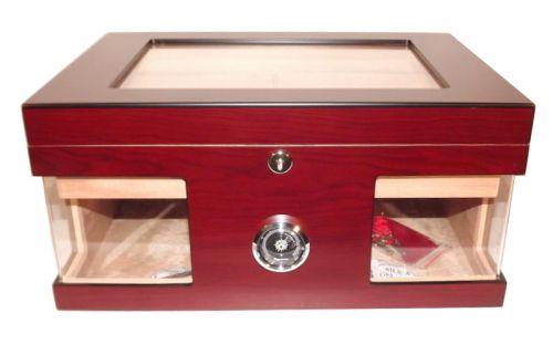 Humidor 80 szál szivar részére, cédrusfa szivar doboz, üvegtető, hygrométerrel és párásítóval - bordó, Angelo