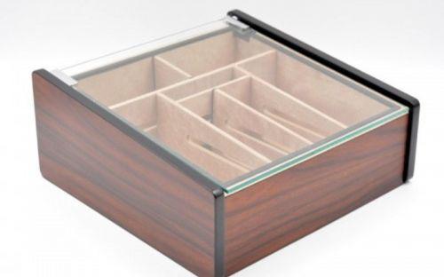 Hermoso humidor 80-100 szálas szivardoboz, cédrusfa szivartartó doboz, üvegtető, párásító - mahagóni borítással