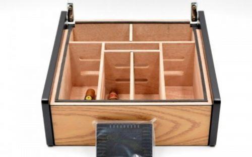 Hermoso humidor-Oak 80-100 szálas szivardoboz, cédrusfa szivartartó doboz, üvegtető, párásító - tölgyfa borítással