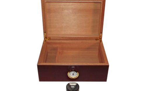 Humidor 50 szál szivar részére, cédrusfa szivar doboz, párásítóval, hygrométerrel - mahagóni, Angelo