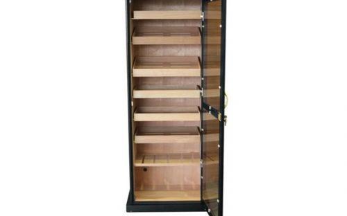 Szivarszekrény - szivar tároló, 600-800 szál szivar tárolására, fekete, cédrusfa, hygrométer, üveg ajtóval, 7 db fiókkal 180cm!!
