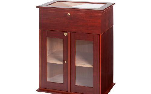 Szivarszekrény - szivar tároló, 250-400 szál szivarnak, cédrusfa belső, körbe üveges, hygrométer - Santo Domingo