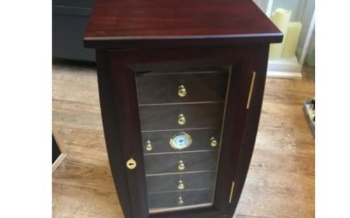 Szivarszekrény - szivar tároló, 80 szivar részére, üveg ajtó, külső hygrometer - sötétbarna, Angelo Palisander