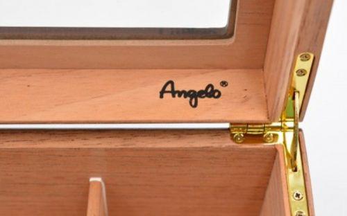 Humidor 50 szál szivar részére, cédrusfa szivar doboz, üvegtető, párásítóval, hygrométerrel - vöröses barna, Angelo