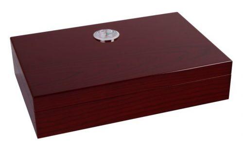 Utazó humidor - cédrusfa szivartartó doboz, párásítóval és külső hygrométerrel, cseresznye (26x17cm)