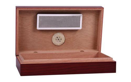 Utazó humidor - cédrusfa szivartartó doboz, párásítóval és külső hygrométerrel, cseresznye (19x11cm)