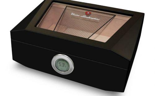 Humidor 80 szivar részére, üvegtetős, cedrusfa szivar doboz, párásítóval, külső hygrométerrel - Lamborghini Monte Carlo