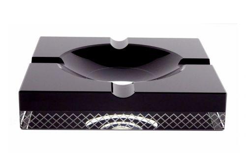 Szivar hamutartó - fekete kristály, 4 szivarnak