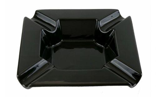 Szivar hamu tartó - nagy méretű, fekete porcelán