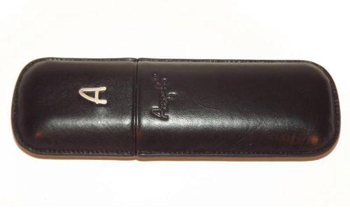 Szivartok - 2 szivar részére, fekete bőr, Angelo, 18cm