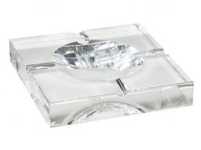 Szivar hamutartó - kristályüveg, négyzet (20x20cm)