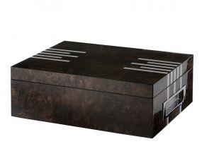 Humidor 50 szál szivar részére, spanyol cédrusfa szivar tároló doboz, párásítóval, hygrométerrel - lakkozott barna, ezüst csíkokkal