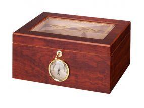 Humidor 50 szivar részére, barna színű cédrusfa szivar doboz, mintás üvegtetővel, külső hygrometerrel